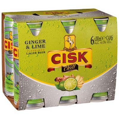 CISK CHILL GINGER & LIME 6 X 330ML