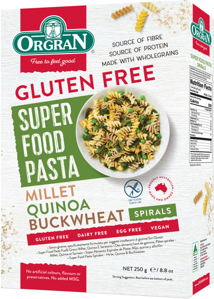 Orgran Gluten Free Super Food Pasta Millet Quinoa Buckwheat Spirals 250g